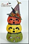 3D Pumpkins With Witches Hat
